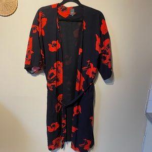 Ichi size xs/ small red/ black mid length kimono.
